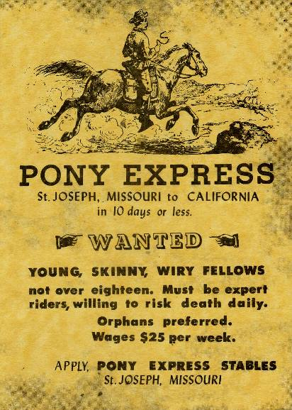 advertisement for pony express rider smaller