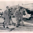 Members of the 201st Mexican Fighter Squadron walk the flight line during traing.  Left to right 2nd Lt. Migel Moreno Arrecola; 2nd Lt. Jaime Cenizo Rojas; 1st Lt. John Haley;...