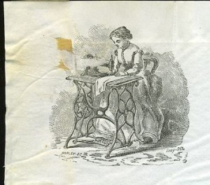 letter with illustration of woman using early machine