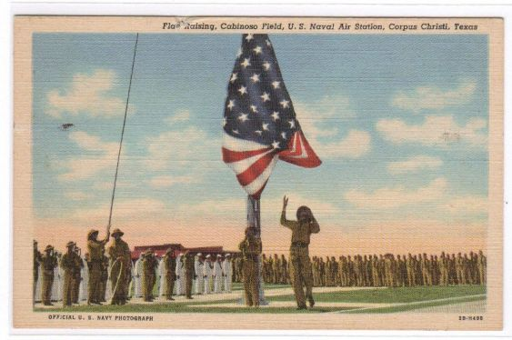 Raising the flag at Naval Air Station Corpus Christi TX circa 1942